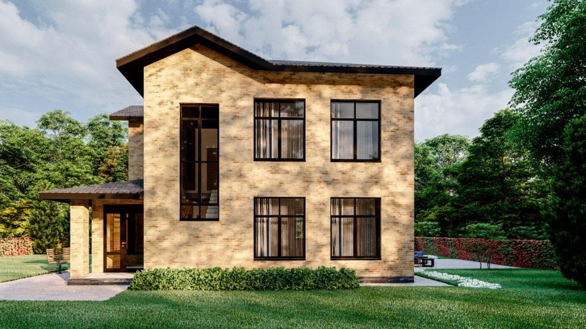 Двухэтажный, газобетон, облицованный кирпичом 142 кв.м